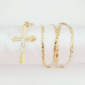 18K Gold filled tricolor crucifix necklace. New